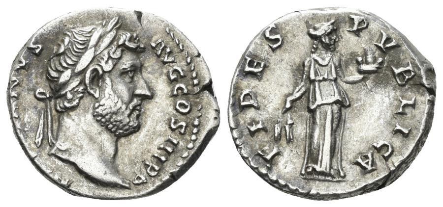 Ancient Coins - Hadrian. 117-138 AD. AR Denarius (3.36 gm, 17mm). Rome mint. Struck 134-138 AD. RIC II 241a