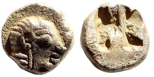 Ancient Coins - Ionia, Kolophon. Late 6th century BC. AR Hemiobol (0.42 gm, 6mm). SNG Kayan 352