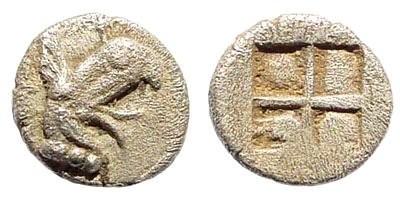 Ancient Coins - Ionia, Teos. Circa. 475-450 BC. AR Tetartemorion (0.23 gm, 6mm). SNG Kayan 603