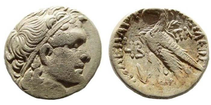 Ancient Coins - Ptolemaic Kingdom. Ptolemy XV (Caesarion) and Cleopatra VII. 44-30 BC. AR Tetradrachm (13.30 gm, 25mm). Alexandria mint. Dated year 12 (41/40 BC). Svoronos 1825; SNG Copenhagen 406