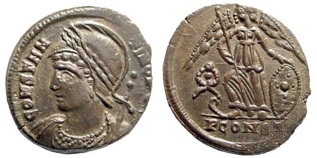 Ancient Coins - Constantinopolis. 330-331 AD. AE Follis (2.43 gm, 18mm). Arles mint. RIC VII 374