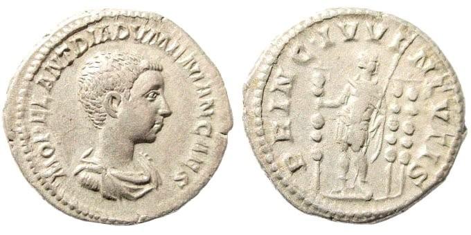 Ancient Coins - Diadumenian, as Caesar, 217-218 AD. AR Denarius (3.65 gm, 20mm). Rome. RIC 102, Cohen 3