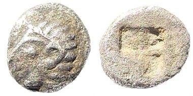 Ancient Coins - Ionia, Kolophon. Circa late 6th Century BC. AR Tetartemorion (0.18 gm, 5mm). SNG Kayhan 343