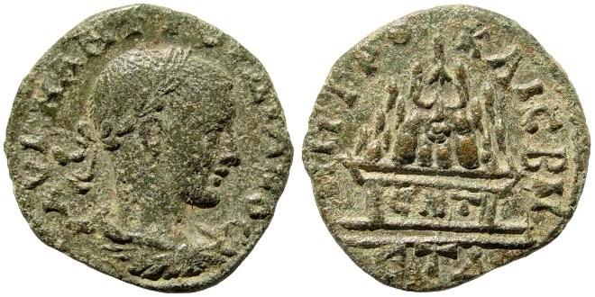 Ancient Coins - Cappadocia, Caesarea. Gordian III. 238-244 AD. AE 25mm (10.33 gm.). Year 4, 241-242 AD. Cf. Sydenham, the Coinage of Caesarea in Cappadocia, 614 (different date)