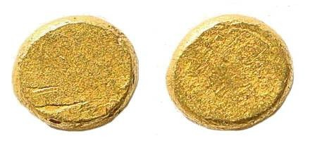 Ancient Coins - Ionia or Caria, Uncertain mint. Electrum coin flan for 1/24th Stater (0.47 gm, 5mm)