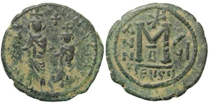 Ancient Coins - Heraclius, with Heraclius Constantine 610-641 AD. AE Follis (13.18 gm, 31mm). Seleucia Isauria mint. Dated RY 7 (616/7 AD). DOC II 181b; MIB III 193; SB 845