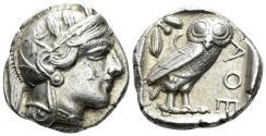 Ancient Coins - Attica, Athens. Circa 454-404 BC. AR Tetradrachm (17.13 gm, 25mm). Kroll 8; HGC 4, 1597