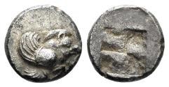 Ancient Coins - Ionia, Klazomenai. 5th century BC. AR Obol (1.12 gm, 9mm). SNG Kayan 334; Klein 391