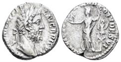 Ancient Coins - Commodus. 177-192 AD. AR Denarius (2.88 gm, 16mm). Rome mint. struck 188-189 AD. RIC III 176