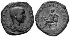 Ancient Coins - Hostilian, as Caesar. 249-251 AD. AE Sestertius (18.90 gm, 31mm). Rome mint. Struck 251 AD. RIC 215a. Rare
