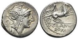 Ancient Coins - D. Silanus L.f. 91 BC. AR Denarius (3.80 gm, 18mm). Rome mint. Crawford 337