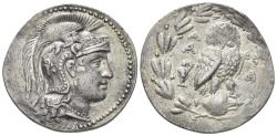 Ancient Coins - Attica, Athens. Circa 165-42 BC. AR Tetradrachm (17.11 gm, 33mm). Circa 165-150/49 BC. Thompson 92