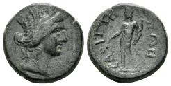 Ancient Coins - Lydia, Saitta. Imperial Times, late 2nd - early 3rd cent AD. AE 16mm (3.29 gm). BMC 21