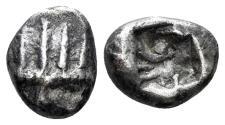 Ancient Coins - Asia Minor, uncertain mint. Circa 500 BC. AR Diobol (1.29 gm, 10mm). Rosen 395; Klein 232. Rare