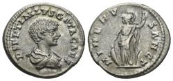 Ancient Coins - Geta, as Caesar, AD 198-209. AR Denarius (3.69 gm, 19mm). Laodicea ad Mare mint. Struck circa 202-203 AD. RSC 83a