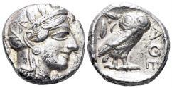 Ancient Coins - Attica, Athens. Circa 454-404 BC. AR Tetradrachm (17.11 gm, 24mm). Kroll 8