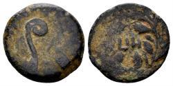 Ancient Coins - Judaea, Roman Procurators. Pontius Pilate, 26-36 AD. AE Prutah (1.75 gm, 14mm). Jerusalem mint. Dated RY 18 (31 AD). Hendin 650