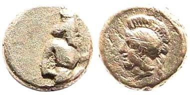 """Ancient Coins - Kilikia. Achaemenid Empire. Circa 350 BC. AR (0.16 gm, 5mm). Troxell and Kagan in Kraay-Mørkholm Essays, """"Cilicians and Neighbors in Miniature,"""" 12a. Extremely rare"""