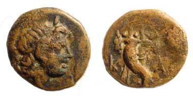 Ancient Coins - Caria, Kaunos, 3rd century BC, AE 11.4 mm (1.26 gm.). SNG Helsinki I, 76