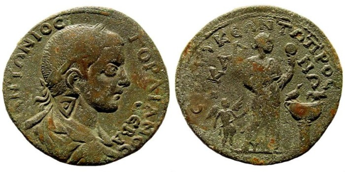 Ancient Coins - Cilicia, Seleukeia. Gordian III. 238-244 AD. AE 33mm (16.55 gm). Lindgren/ Kovacs 1589 (same dies); for countermark: Howgego 618. Rare