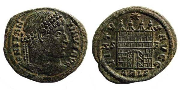 Ancient Coins - Constantine I, gateway with open doors, rare type