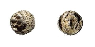 Ancient Coins - Caria, Mylasa. 420-390 BC. AR Tetartemorion (0.24 gm, 6mm). SNG Helsinki I, 849