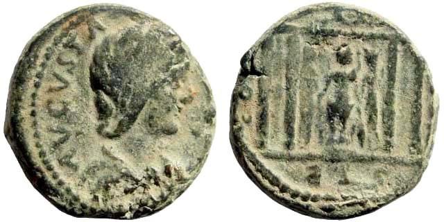 Ancient Coins - Judaea, Sebaste. Julia Measa, 218-222 AD. AE 21mm (11.01 gm). SNG ANS 1083. Very rare