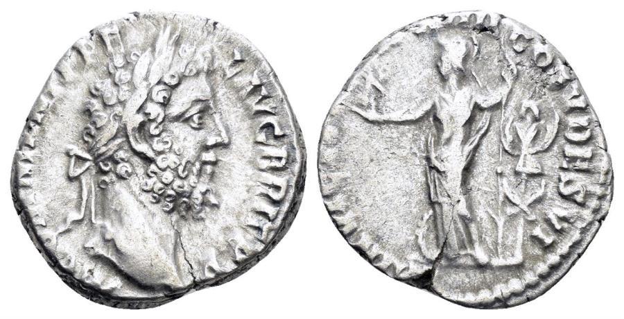 Ancient Coins - Commodus. 177-192 AD. AR Denarius (2.88 gm, 16mm). Rome mint. struck 188-189 AD. RIC III 176