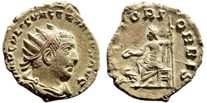 Ancient Coins - Valerian I, 253-260 AD, AR Antoninianus (3.41 gm, 21mm). Antioch mint. Göbl 1562