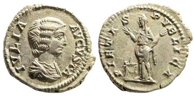 Ancient Coins - Julia Domna, wife of Septimius Severus. AR Denarius (3.21 gm, 19mm). Struck circa 200-207 AD. RIC IV 574 (Severus); BMCRE 69 (Severus); RSC 156