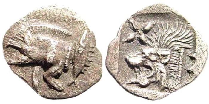 Ancient Coins - Mysia, Kyzikos. Circa 510-475 BC. AR Hemiobol (0.37 gm, 10mm). SNG France 375; SNG Kayan 56; Klein 265