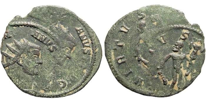 Ancient Coins - Misstruck Maximianus, 285-305 AD. AE Antoninianus (2.51 gm, 25mm). Rome mint. Struck circa 291. RPC 515