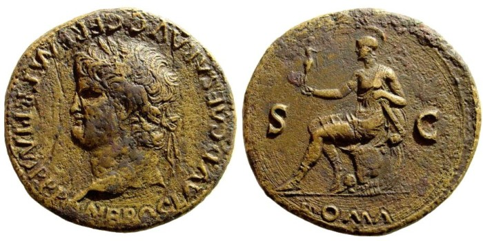 Ancient Coins - Nero, 54-68 AD. AE Sestertius (24.54 gm, 35mm). Lugdunum (Lyon) mint. Struck circa 65 AD. Giard, Lyon 114/5 (for same obverse die but with Ceres reverse)