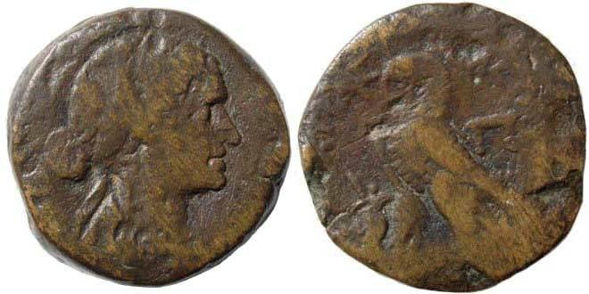 Ancient Coins - Ptolemaic Kingdom. Cleopatra VII Philopator. 51-30 BC. AE Diobol. Svoronos 1871; Weiser 183; SNG Copenhagen 419