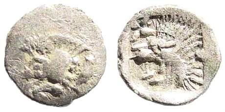 Ancient Coins - Mysia, Kyzikos. Circa 510-475 BC. AR Hemitetartemorion (0.13 gm, 10mm). Klein 267; SNG Tübingen 2222