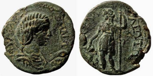 Ancient Coins - Cilicia, Karallia. Julia Domna, wife of Septimius Severus, 193-211 AD. AE 26 mm (8.39 gm). SNG Levante 361 (same dies)