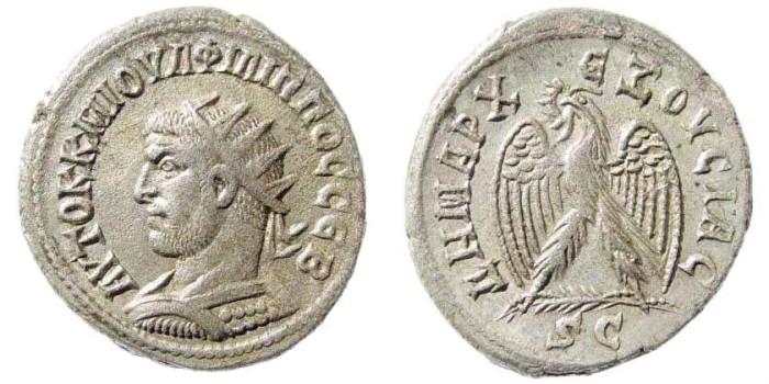 Ancient Coins - Syria, Seleucis and Pieria. Antioch. Philip I. AD 244-249. AR Tetradrachm (11,19 gm). Struck AD 245. Prieur 313