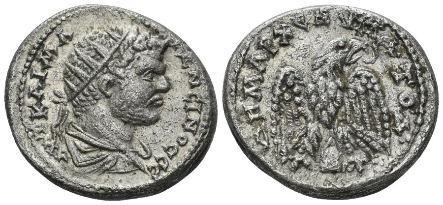 Ancient Coins - Mesopotamia. Rhasaena. Caracalla. 198-217 AD. BI Tetradrachm (13.15 gm, 26 mm). Prieur 878. A rare mint