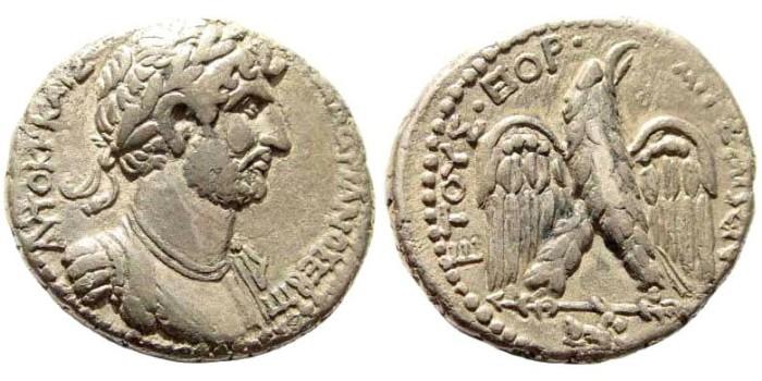 Ancient Coins - Kilikia, Aigeai. Hadrian. 117-138 AD. AR Tetradrachm (13.29 gm, 26mm). Dated Caesarean Era 179, 132/3 AD. Prieur 720 (same dies); SNG France 2332 (same dies)