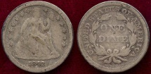Us Coins - 1842 SEATED 10c FINE
