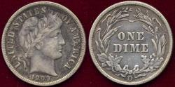 Us Coins - 1909-D BARBER DIME XF40