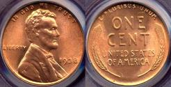 Us Coins - 1938 LINCOLN CENT  PCGS  MS66RD