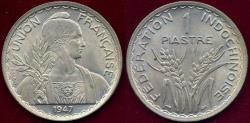 World Coins - FRENCH INDO CHINA 1947 1 PIASTRE  CHOICE BU