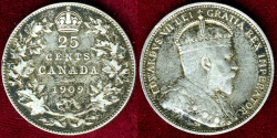 World Coins - CANADA 1909  25c   VF