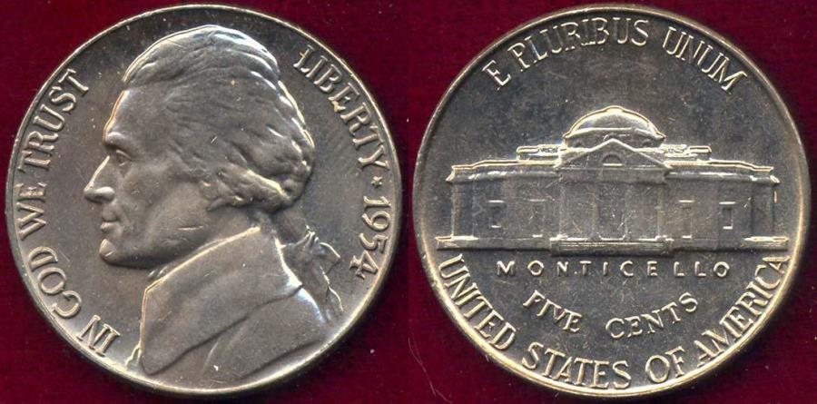 US Coins - 1954 JEFFERSON 5c MS65