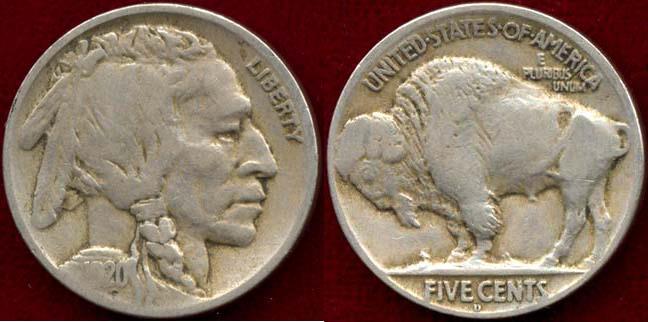 US Coins - 1920-D BUFFALO 5c FINE