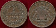 World Coins - BADEN 1865  1/4 KREUZER