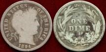 Us Coins - 1894  BARBER 10c  GOOD