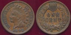 Us Coins - 1892 INDIAN 1c AU55