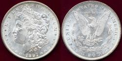 Us Coins - 1897 MORGAN $1 MS63 +  SUPERIOR WHITE LUSTER